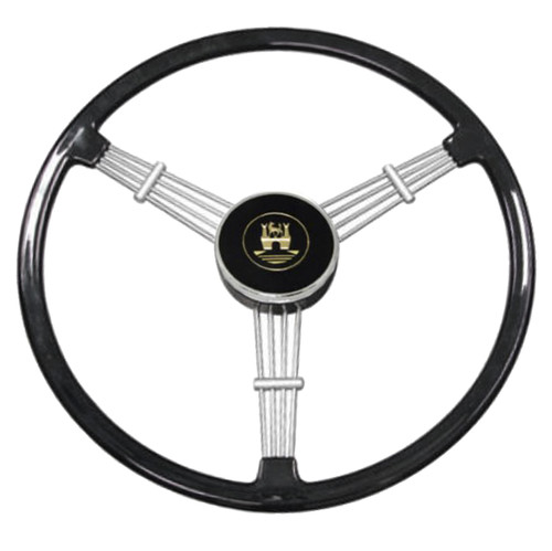 "Empi 79-4059 Banjo Style Black Vintage 3 Spoke Steering Wheel, 15-1/2"" Diameter"