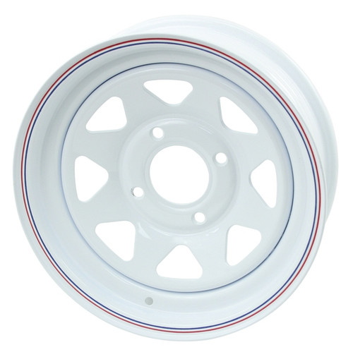 "Empi 10-1003 Vw Baja Bug 15X6  4 Lug White Steel Spoke Wheel 3-3/4"" Back Space"
