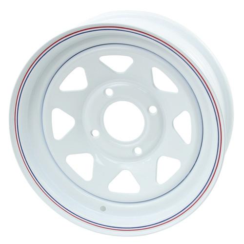 "Empi 10-1006 Vw Baja Bug 15X10  4 Lug White Steel Spoke Wheel 2"" Back Space"