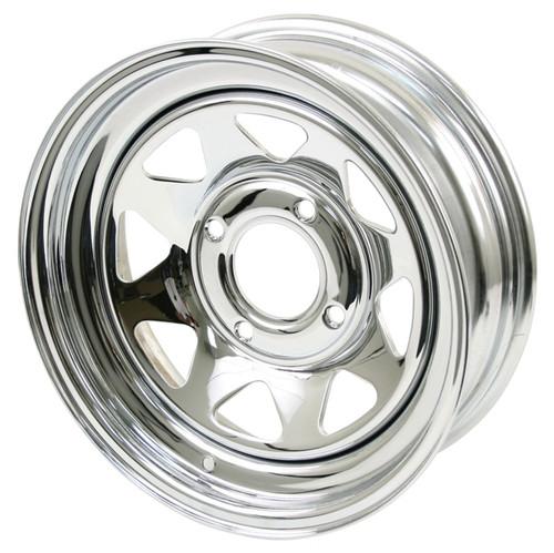 "Empi 10-1010 Vw Baja Bug 15X7  4 Lug Chrome Steel Spoke Wheel 3-1/2"" Back Space"