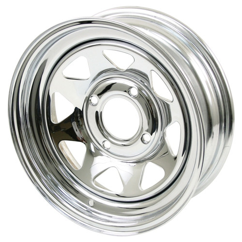 "Empi 10-1011 Vw Baja Bug 15X8  4 Lug Chrome Steel Spoke Wheel 2"" Back Space"