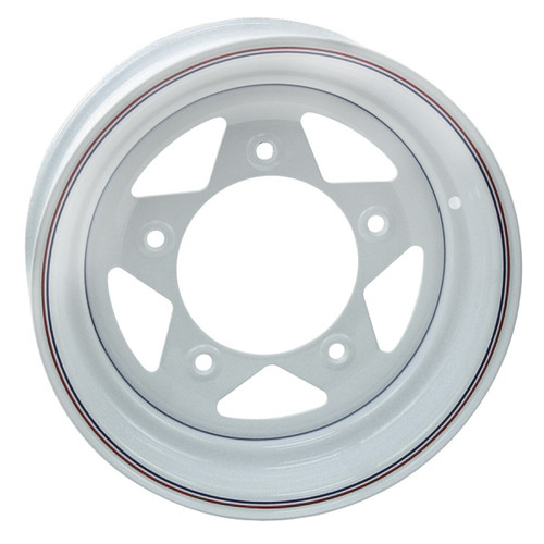 "Empi 10-1014 Vw Baja Bug 15X5  5 Lug White Steel Spoke Wheel 2-7/8"" Back Space"