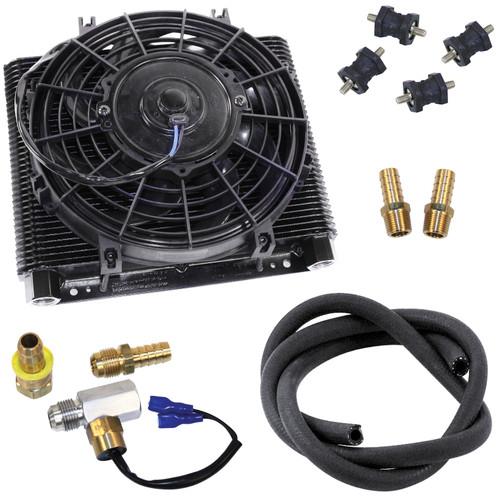 Empi 9292 Mesa 72 Plate Oil Cooler/Electric Fan Kit W/Fan Thermostat, Hose, Fittings