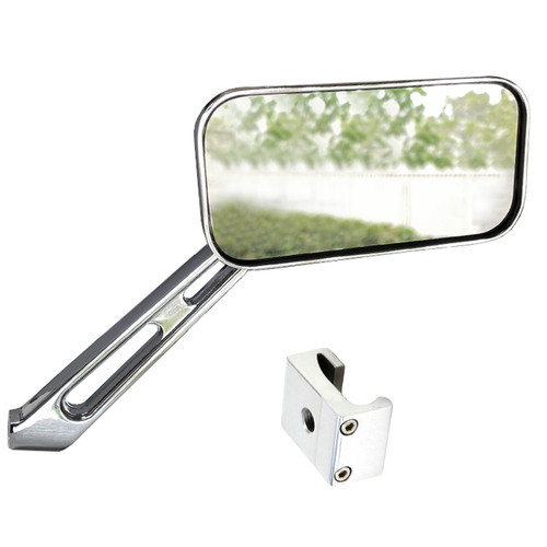 Manx Buggy Chrome Sideview Rectangular Mirror W/Aluminum Mount, Each
