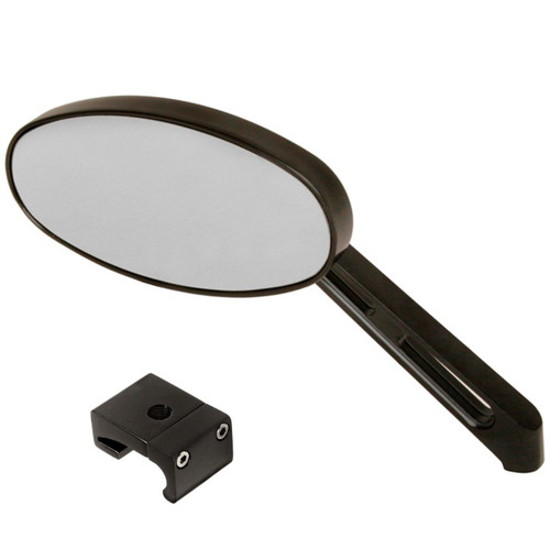 Manx Buggy Black Sideview Oval Mirror W/Aluminum Mount, Each
