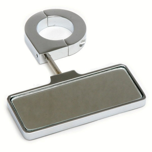 """Polished Aluminum Rear View Mirror - Clamp On 1-1/2"""" Tubing"""