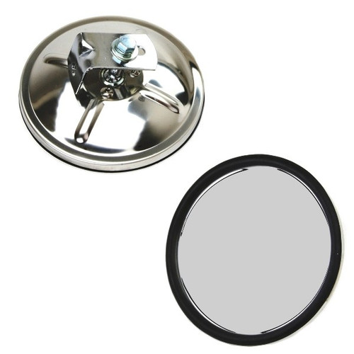 5 Round Chrome Side View Mirror With Convex Mirror Glass