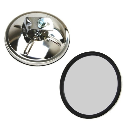 5 Round Stainless Steel Side View Mirror With Flat Mirror Glass