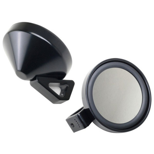 Deluxe Black Side View Mirror With Convex Glass