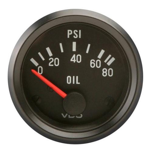 """VDO Cockpit Series 2-1/16"""" 80 PSI Oil Pressure Gauge 350040"""