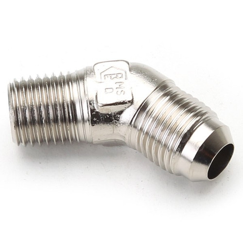 """An Hose Adapter Fitting - Male 1/4"""" NPT To Male #6 / 45 Degree-Steel"""