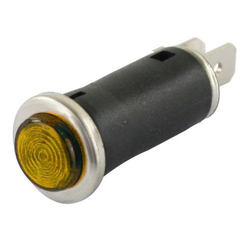 """Amber Indicator Light With Chrome Bezel Ring 1/2"""" Mounting Hole"""