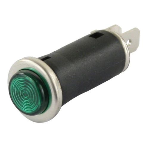 "Green Indicator Light With Chrome Bezel Ring 1/2"" Mounting Hole"