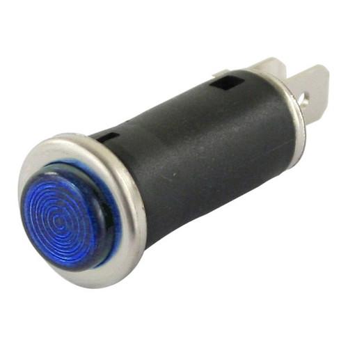 """Blue Indicator Light With Chrome Bezel Ring 1/2"""" Mounting Hole"""