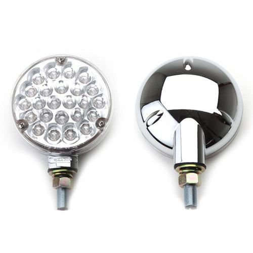 """LED 4"""" Off-Road Light With Clear Lens Amber Lights And Chrome Housing"""