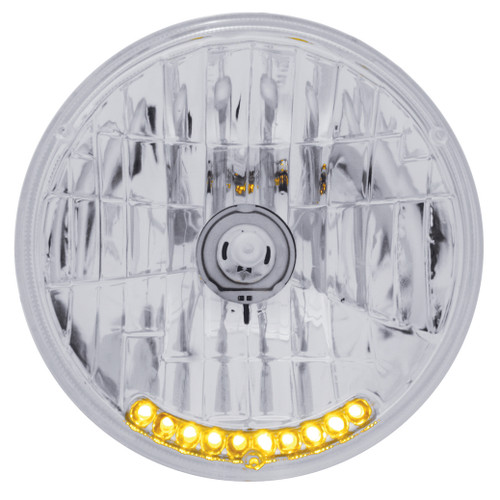"""Halogen Crystal Headlight Bulb 7"""" Round 65/55W With 10 Auxiliary Led Lights"""