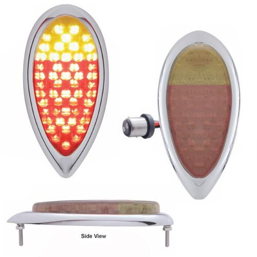 Led Ford Teardrop Tail Light - Chrome Bezel Clear Lens Red/Amber Light
