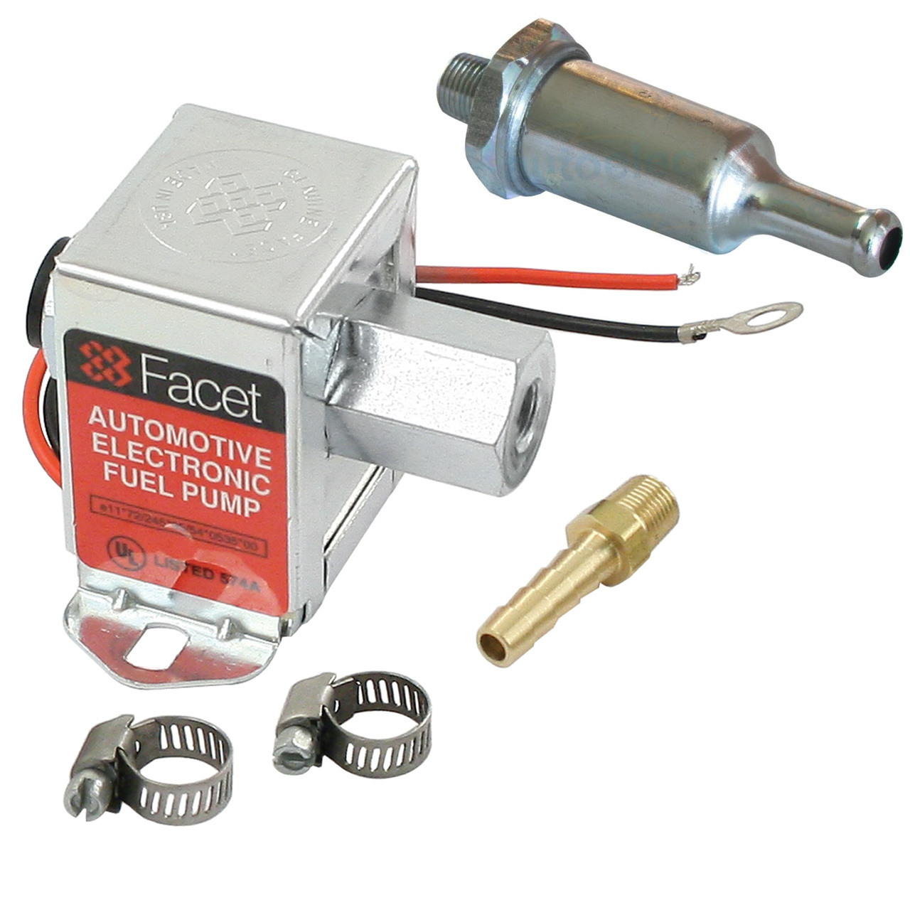 facet fep42sv cube electric fuel pump 1 5-4 psi, includes clamps/fittings/ filter