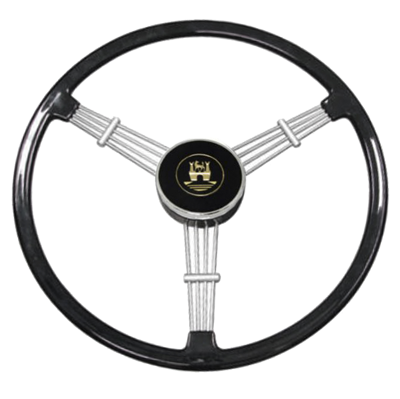 Empi 79 4059 Banjo Style Black Vintage 3 Spoke Steering Wheel 15 1