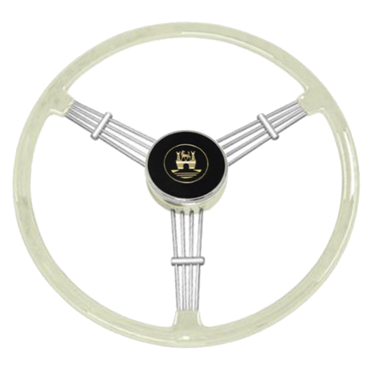 Empi 79 4060 Banjo Style Grey Vintage 3 Spoke Steering Wheel 15 1