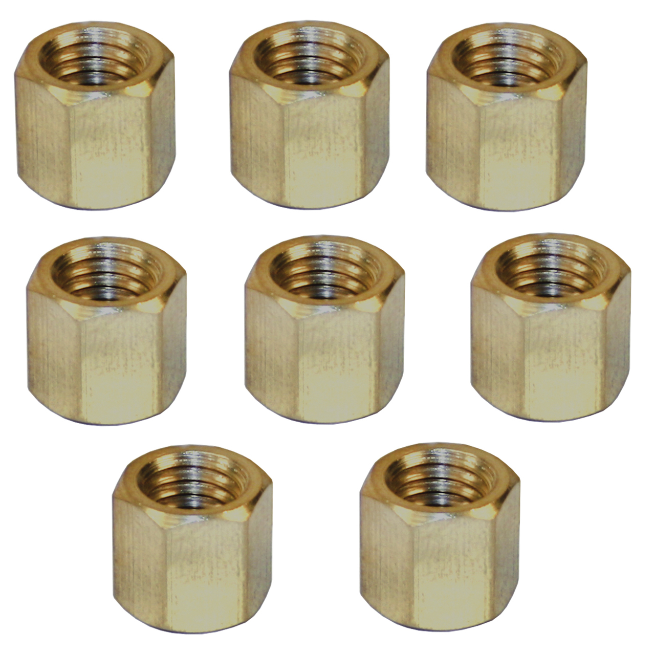 Empi 43-6051 Vw Bug, Ghia Brass Exhaust Nut, 8mm-1 25mm, 11mm Hex Head, Set  Of 8
