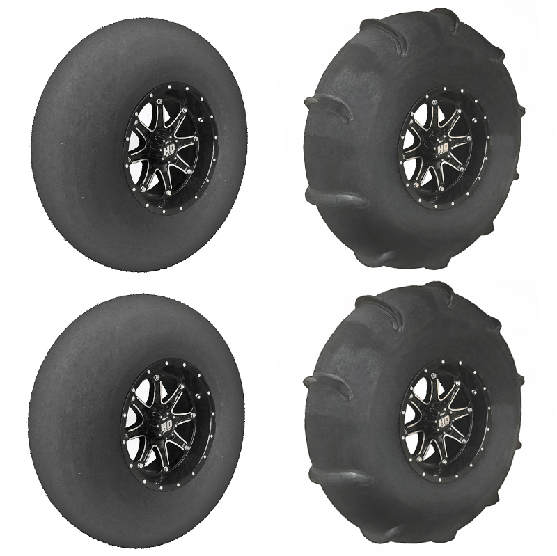 Skat Trak Xtreme 32X13-14 Light Weight 10 Paddle Staggered Tire-Wheel  Package, Can-Am Maverick X3Max