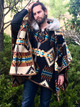Riding Poncho in Rancho Arroyo Black & Caribou Trimmed Hood