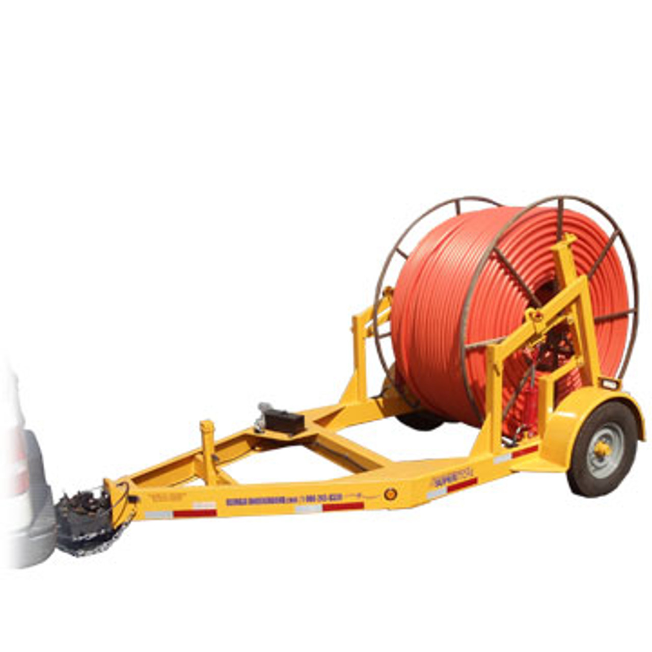 """The TR 3TSLR 3 Ton Self Loading Hydraulic Reel Trailer can handle reels up to 120"""" in diameter and 60"""" in width. Contact our veteran, knowledgeable staff for more information on this trailer."""