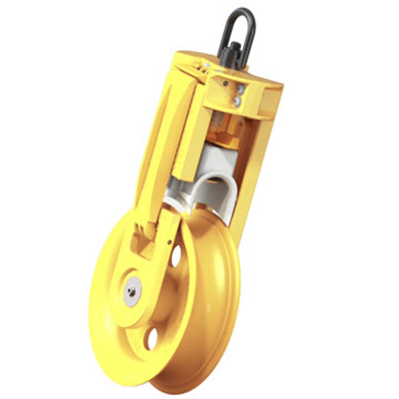 """The Jameson SHV-8 Fiber Install Sheave 8"""" model for straight pulls levels itself, strapping optional. It features a patent pending cable guard that eliminates delays caused by cable and pull tape derailing. The 2"""" wide opening allows pulling grips to pass through easily."""