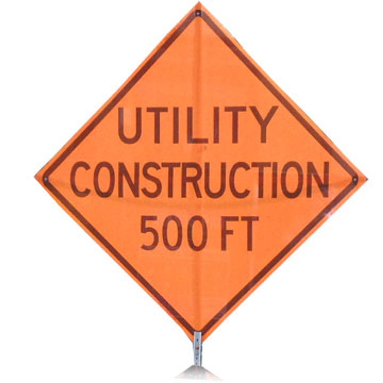 """B A4SU0896 SG """"UTILITY CONSTRUCTION 500FT""""  Standard Grade 48"""" Roll-Up Sign"""