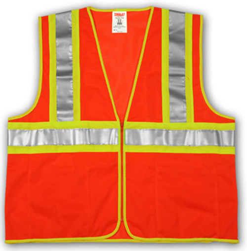 "SP V70649 S/M MESH Orange Polyester Safety Vest,  Two-Tone 2"" Silver Reflective Tape with Contrasting Backing,  Single Horizontal Stripe,  Zipper Closure, 4 Interior Pockets, ANSI Class II"