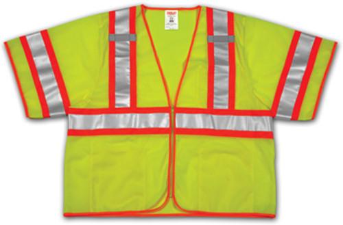 SP V70332 Large-Extra Large Lime Mesh Polyester Safety Vest, 4 Pockets, ANSI Class III