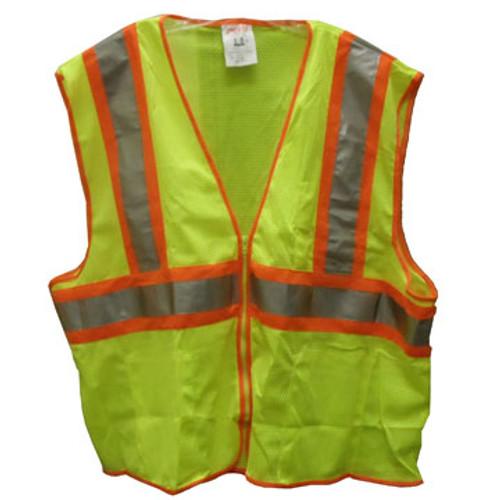 SP V70642 2X-3X Lime Mesh Polyester Safety Vest, 4 Pockets, ANSI Class II