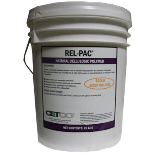 DF REL-PAC 25 Rel-Pac 25lb Pail w/Scoop , Increases Bore Hole Stability