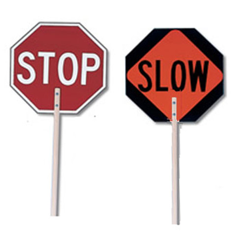 """SP 3007354 Stop / Slow Paddle 18"""", with wodden staff"""