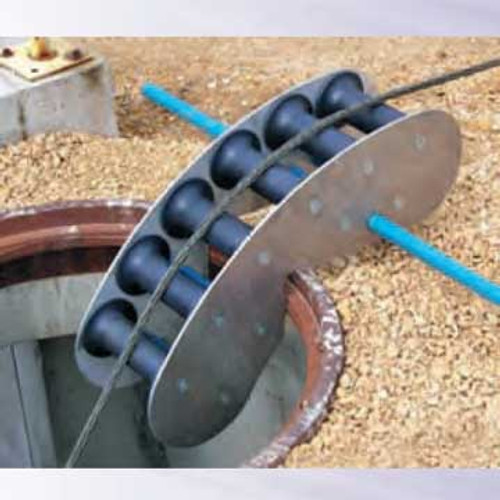 The CX08539220 60 Degree Quadrant Block is composed of a series of 6 Nylatron® sheaves that allow cable to make a gradual 60° turn for easy pulling through manhole or pull box openings. Support bar sold separately.