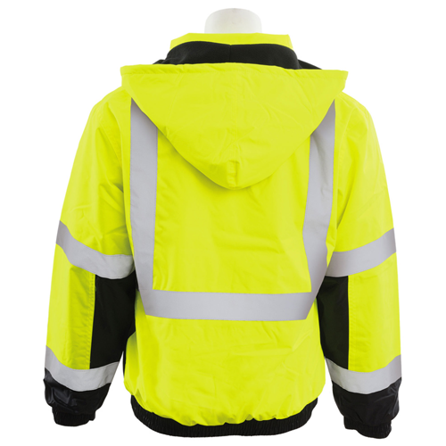 "ERB-61591 W106 *MEDIUM*  Jacket w/ Storm Flap & Hood, 2"" Reflective Trim, 3 Outside Pockets, Waterproof, Class 3 Bomber"
