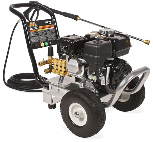 The MI-T-M MI WP-4200-0MHB  cold water gasoline direct drive Work Pro Series pressure washer. Easy maneuverability and reliability.