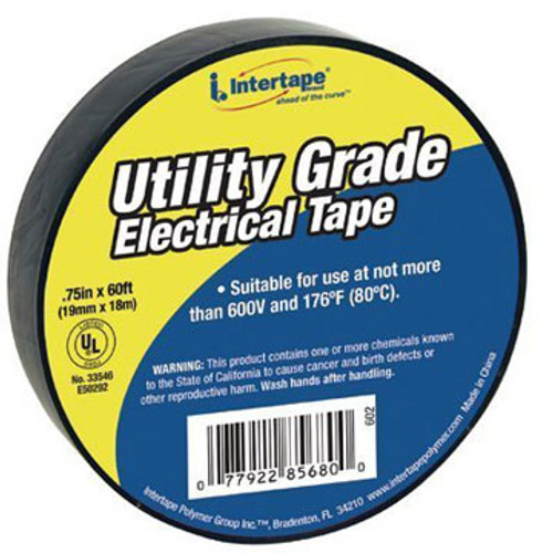 TP UT-602 Electrical Tape, Black 60' x .75""