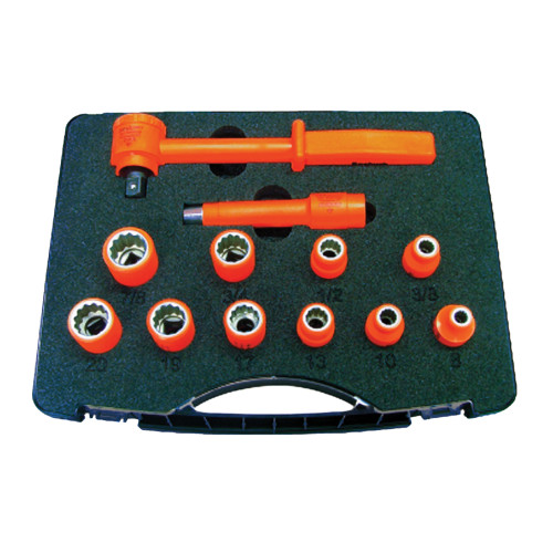1000V Insulated 3/8-inch Drive Combination Socket Set, 12-Piece