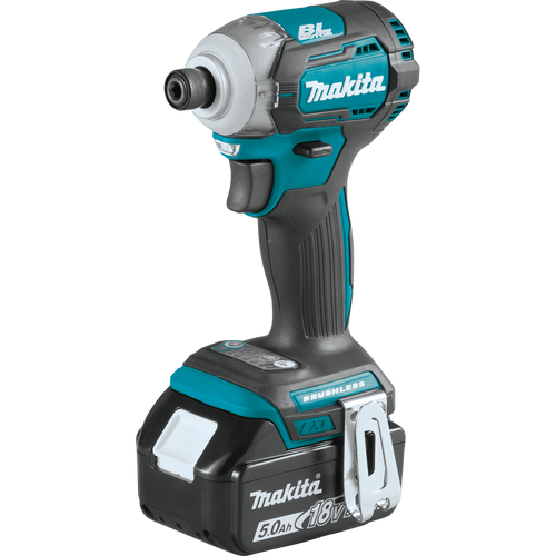 Makita XDT12T  18V LXT® Lithium‑Ion Brushless Cordless Quick‑Shifta Mode™ 4‑Speed Impact Driver (5.0Ah) Angled