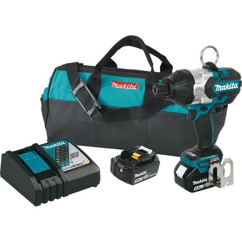 "Makita XWT09T 18V LXT® Lithium‑Ion Brushless Cordless High Torque 7/16"" Hex Impact Wrench Kit (5.0Ah"