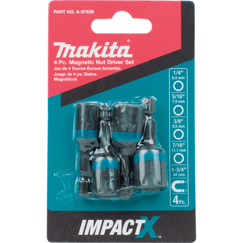 Makita ImpactX 4 Piece 1-3/4 Inch Magnetic Nut Driver Set