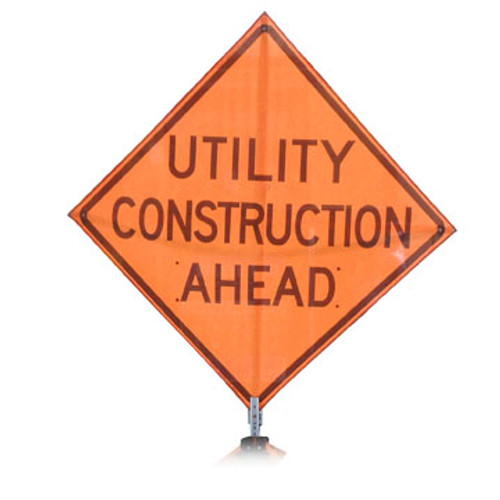 "B A4PU0895 PG ""UTILITY CONSTRUCTION AHEAD""  Premium Grade 48"" Roll-Up Sign"
