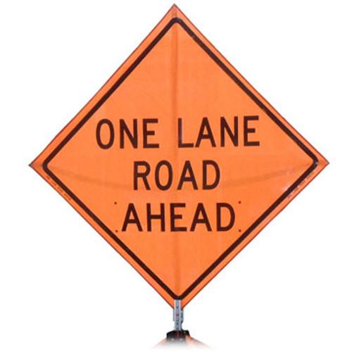 "B A4PMOLRA48 PG ""ONE LANE ROAD AHEAD"" Premium Grade 48"" Roll-Up Sign"