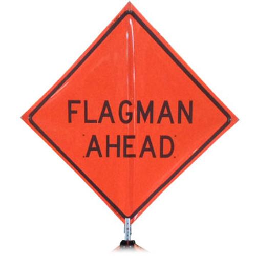 "B A4DF0290OC DG ""FLAGMAN AHEAD"" 3M Diamond Grade 48"" Roll-up Sign"