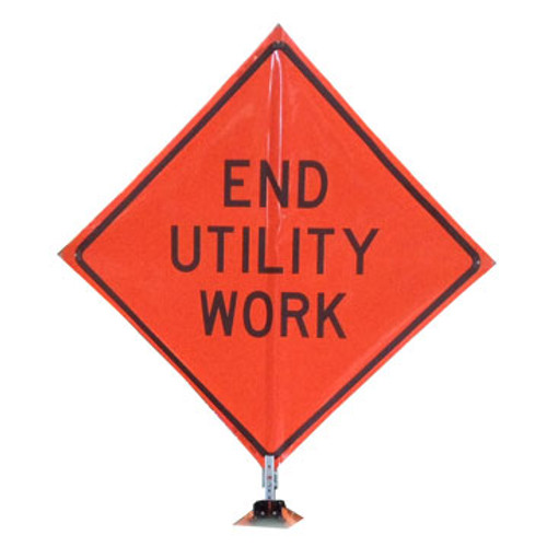 "B A4DE0235OC DG ""END UTILITY WORK""  3M Diamond Grade 48"" Roll-Up Sign"