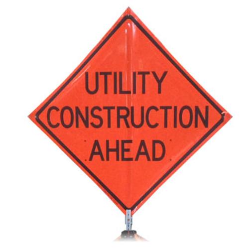 "B A4DU08950C DG ""UTILITY CONSTRUCTION AHEAD""   3M Diamond Grade 48"" Roll-Up Sign"