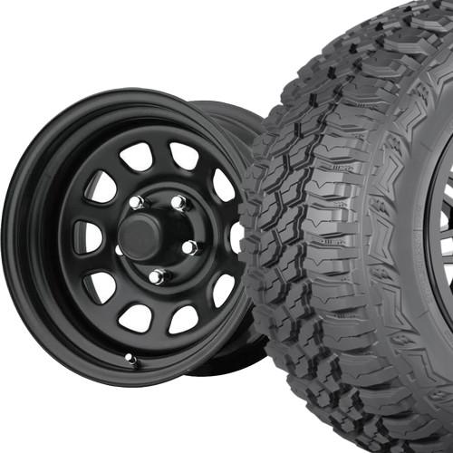 Jeep TJ/XJ/ YJ 33x12.50r15 Americus MT / 15x10 Flat Black Wheel - National Tire & Wheel Packages