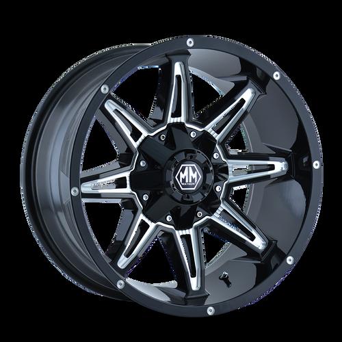 20x10 8x180 4.52BS 8090 Rampage Black/Milled - Mayhem Wheels